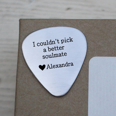 "Laser Engraved Custom Guitar Pick, ""I couldn't pick a better soulmate"", For Husband or Boyfriend, LGC10049"