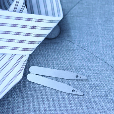 Laser Engraved Collar Stays for Husband, Custom Brushed Stainless Steel, Gift from Bride, LGC10490