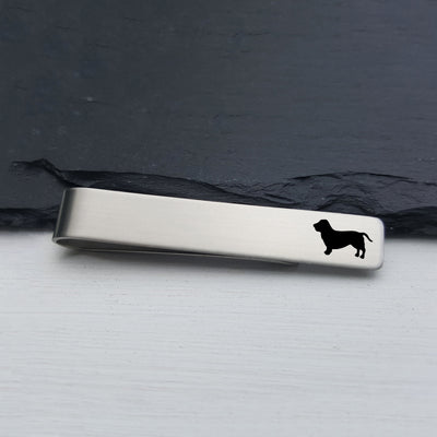 Laser Engraved Mens Tie Bar, Basset Hound, Personalized Gifts, Custom Clip, For Him, Wedding Keepsake, Pet Lover Gift, LGC10533