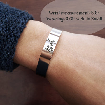 Laser Engraved Cuff Bracelet, Custom Actual Handwriting, Personalized Jewelry, Wife Gift, For Mom, Rose Gold, LXJC100141
