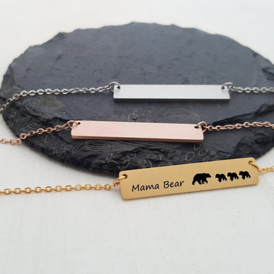 Laser Engraved Custom Name, Mama Bear Bar Necklace, Cubs, Unique Gift for Mom, Personalized Rose Gold or Silver Jewelry, for Her, LXJC100060