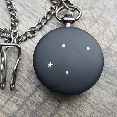 Laser Engraved Personalized Pocket Watch, Matte Black, Gift for Him, For Wedding Party, For Groom, Zodiac Constellation, LGC10053
