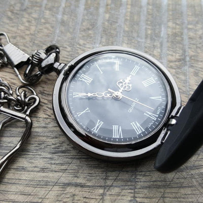 Laser Engraved Custom Pocket Watch, Personalized,  Black Metal, Firefighter Gift, Pilot Gift, For Men, For Her, LGC10345