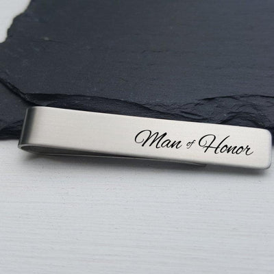 Laser Engraved Mens Tie Bar, Personalized Gifts, Man of Honor Gift, Custom Clip, For Him, Wedding Keepsake, For Men, LGC10142