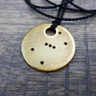 Laser Engraved Custom Necklace, Zodiac Constellations, I love you daddy, Personal Message, Brass Tag, Antiqued Rustic Pendant, LGC10299