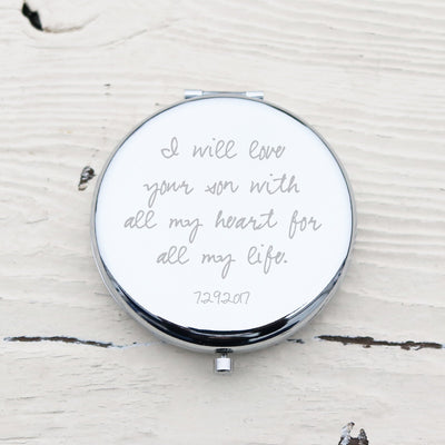 Laser Engraved Personalized Pocket Mirror, Silver Metal Compact, Magnified, Mother of the Bride, Mother of the Groom Gift, LGC10151