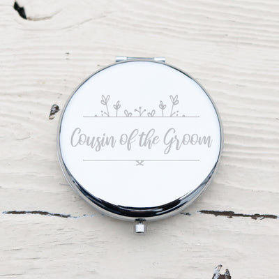 Laser Engraved Personalized Pocket Mirror, Silver Metal Compact, Magnified, Cousin of the Groom Gift, LGC10037