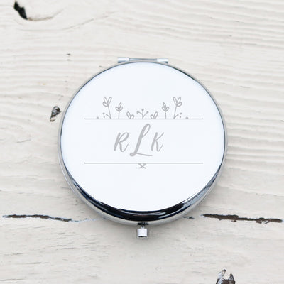 Laser Engraved Personalized Pocket Mirror, Silver Metal Compact, Mother of the Bride, Mother of the Groom Gift, Monogram, LGC10148