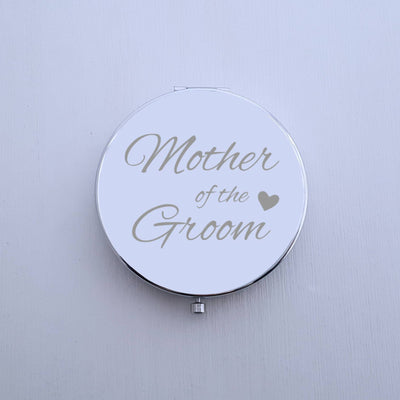 Laser Engraved Personalized Pocket Mirror, Silver Compact, Magnified, Wedding Keepsake, Mother of the Groom Gift, LGC10370