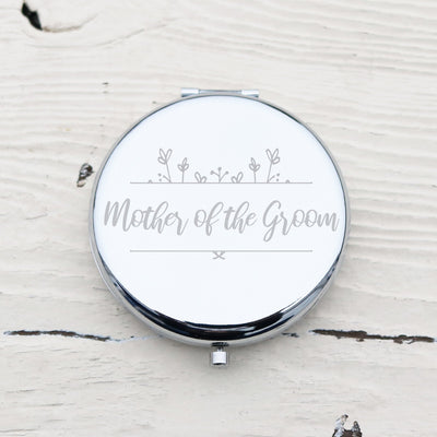 Laser Engraved Personalized Pocket Mirror, Silver Metal Compact, MOTG, Mother of the Groom Gift, LGC10157