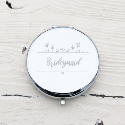 Laser Engraved Personalized Pocket Mirror, Silver Metal Compact, Magnified, Bridesmaid Gift, LGC10017
