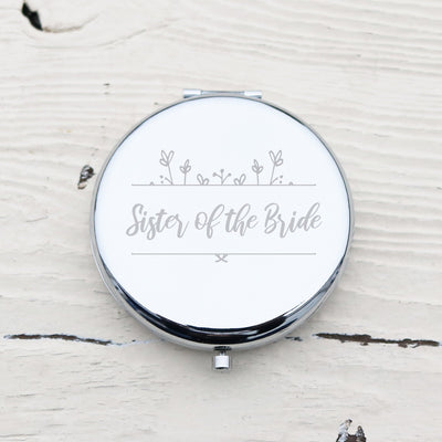 Laser Engraved Personalized Pocket Mirror, Silver Metal Compact, Magnified, Sister of the Bride Gift, Wedding Keepsake, LGC10281