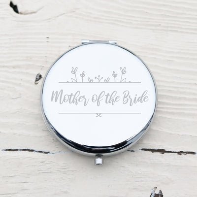 Laser Engraved Custom Pocket Mirror, Personalized Metal Compact, Mother of the Bride, Mother of the Groom Gift,  LGC10149
