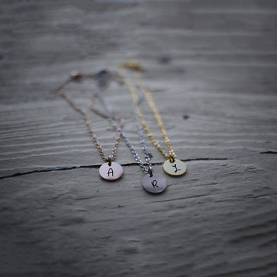 Laser Engraved Tiny Pendant Necklace, Choker, Your Initials, Dainty Personalized Jewelry, Little Gift for Her, LXJC100179