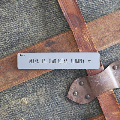 Laser Engraved Personalized Bookmark, Bookworm, Reader Gift, Tea Quote,  Durable Metal, LGC10506
