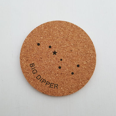 Laser Engraved Cork Coaster, Constellations, Orion, Big Dipper, Little Dipper, Cassiopeia, LGC10264