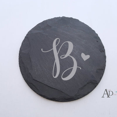Laser Engraved Single Custom Slate Coaster, Initial with Cute Heart, Laser-, Personalized Wedding Gift, Housewarming Present, LGC10273