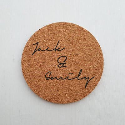 Laser Engraved Single Custom Cork Coaster, Present for Couple, Laser-, Personalized Wedding Gift, Housewarming, LGC10269