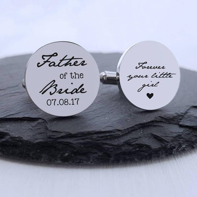 Laser Engraved Personalized Wedding Cufflinks, Mens, Stainless Steel, Custom  Round Cuff links, Gift for Him, LGC10189