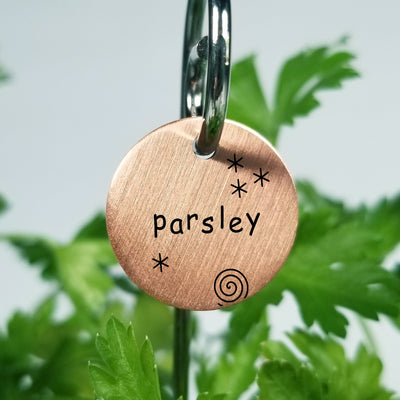 Laser Engraved Copper Garden Markers, Plant Tag, Gift for Gardener, Herb ID Labels with Swirly Stakes, FAM10037