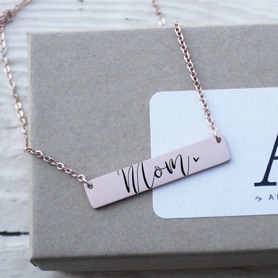 Laser Engraved Minimal Personalized Bar Necklace, Mother's Day, Calligraphy Gift for Wife or Friend, Rose Gold, LXJC100229