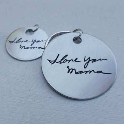 Laser Engraved Personalized Keychain, Stainless Steel, Custom Gift for Him or Her, Handwritten Key Chain, Actual Handwriting, LGC10133