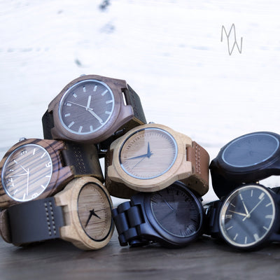 Laser Engraved My Stars Gift for Groom from Bride, Geometric Mountain Wooden Watch for Him, Personalized Jewelry for Men, TBC10093