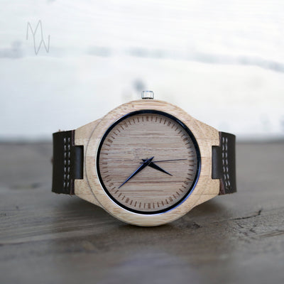 Laser Engraved Wooden Watch, Eco-friendly Gifts,  Leather Band, For Men, 5th Anniversary Gift for Him, For Her, Wedding Keepsake, TBC10004