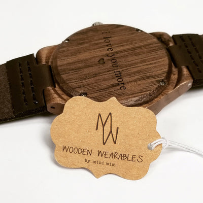 Laser Engraved Custom Wooden Watch, Personalized Gift, For Men Who Have Everything, Leather, Wedding Gifts, TBC10022