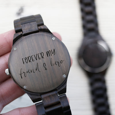 Laser Engraved Wooden Watch, Eco-friendly Gifts, Father of the Groom, For Men, For Dad, Gift for Him, Wedding Keepsake, TBC10013