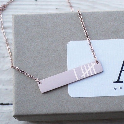 Laser Engraved Personalized Bar Necklace, Tally Marks, Anniversary Gift for Her, Calligraphy Gift for Wife, Rose Gold, LXJC100234
