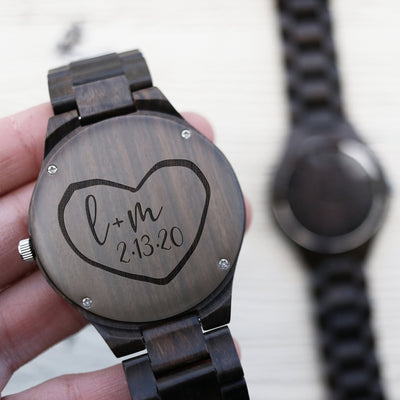 Custom Wooden Watch, Heart Carved in Wood for Men, 5th Anniversary Gift for Him, For Her, Wedding Keepsake, For Groom, TBC10091