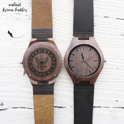 Laser Engraved Wood Watch, Best Wedding Gift for Groom from Bride, Personalized Mens Gift, For Men, US Navy, TBC10092