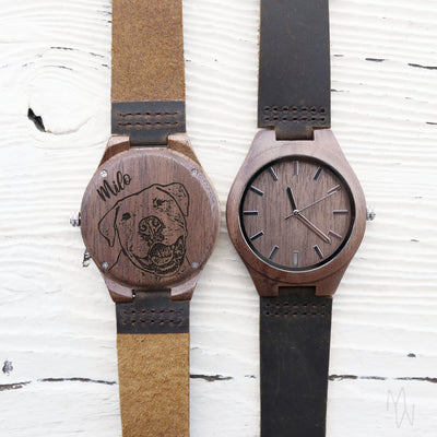 Engraved Custom Wooden Watch, Pet Portrait, Memorial Gift for Men, 5th Anniversary Gift for Him, For Her, For Groom, TBC10088
