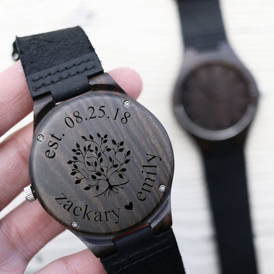 Laser Engraved Wooden Watch, Personalized Father of the Bride Gift, For Father of the Groom, Family Tree, Custom for Men, LGC10083