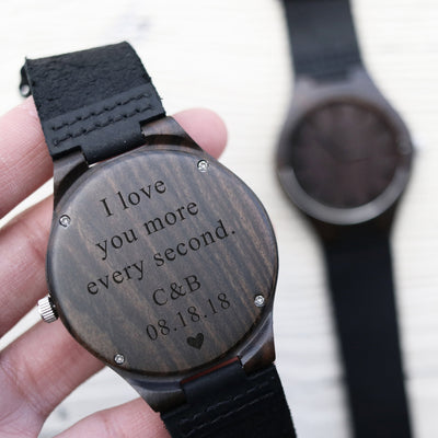 Laser Engraved Wood Watch, Gift for Men Who Have Everything, Wooden Jewelry, Leather Band for Groom,  Mens Gift, LGC10297