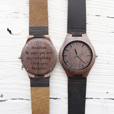 Laser Engraved Wood Watch, Deployment Gift for Him, Personalized Be Safe Mens Gift, Army, Navy, Military, TBC10080
