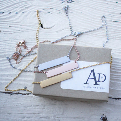 Laser Engraved Custom Bar Necklace, Rose Gold, Initials, Personalized Gift Ideas, For Best Friends Name, For Girlfriend, LXJC100029