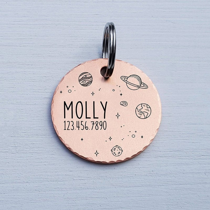 Unique Moon Dog Tag Personalize Crescent Moon Pet ID Tag- Handmade Copper Nickel or Brass