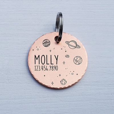 Round Dog Tag, Custom Pet ID Tag, Whimsical Gift, Personalized Cat Tag, Double Sided, Fun, Cute Collar Tag, Rose Gold, Planets, LPTC10146