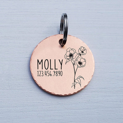 Round Dog Tag, Custom Pet ID Tag, Whimsical Gift, Personalized Cat Tag, Double Sided, Fun, Cute Collar Tag, Rose Gold, Poppy, LPTC10130