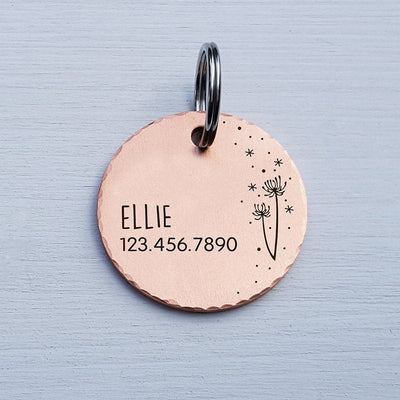 Round COPPER Small Dog Tag Personalized Large Pet Tag Pet Gift Fun Cute Dandelion Starburst Collar Tag Rose Gold Modern Pet Tag, LPTC10120