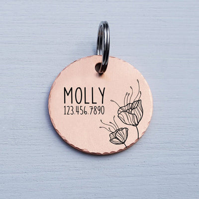 Round Dog Tag, Custom Pet ID Tag, Whimsical Gift, Personalized Cat Tag, Double Sided, Poppy Flower, Cute Collar Tag, Rose Gold, LPTC10144