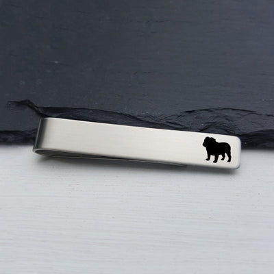 Laser Engraved Mens Tie Bar, Bulldog, Personalized Gifts, Custom Clip, For Him, Wedding Keepsake, Pet Lover Gift, LGC10529
