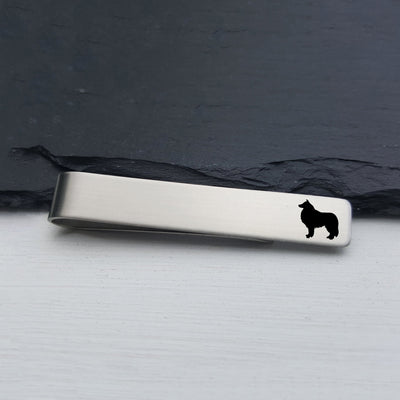 Laser Engraved Mens Tie Bar, Collie, Personalized Gifts, Custom Clip, For Him, Wedding Keepsake, Pet Lover Gift, LGC10524