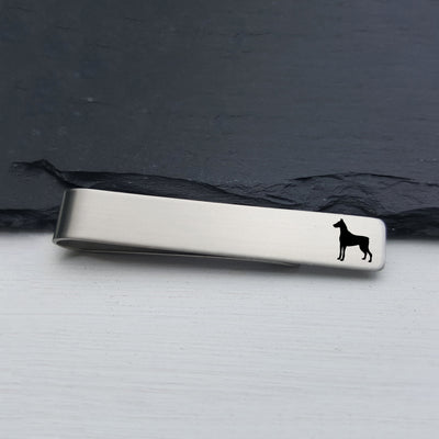 Laser Engraved Mens Tie Bar, Dobermann, Personalized Gifts, Custom Clip, For Him, Wedding Keepsake, Pet Lover Gift, LGC10523