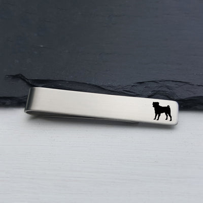 Laser Engraved Mens Tie Bar, Pug, Personalized Gifts, Custom Clip, For Him, Wedding Keepsake, Pet Lover Gift, LGC10513