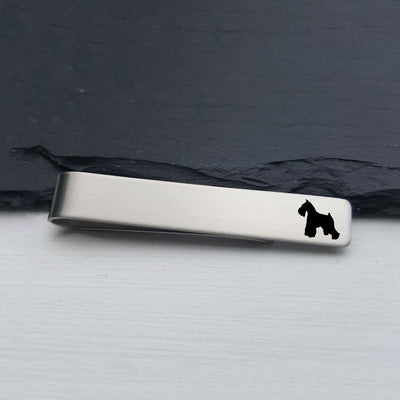 Laser Engraved Mens Tie Bar, Standard Schnauzer, Personalized Gifts, Custom Clip, For Him, Wedding Keepsake, Pet Lover Gift, LGC10512