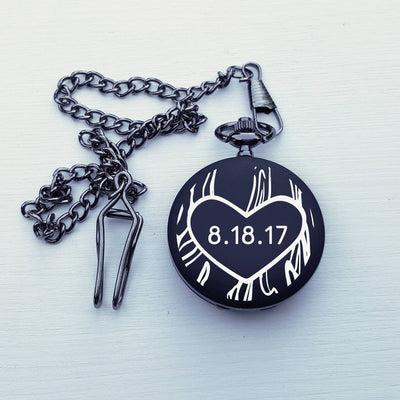 Laser Engraved Custom Pocket Watch, Personalized Initials,  Black Metal, Wedding Gift, For Groom, Mens, LGC10258
