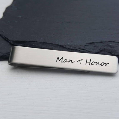 Laser Engraved Mens Tie Bar, Personalized Gifts, Man of Honor Gift, Custom Clip, For Him, Wedding Keepsake, For Men, LGC10141